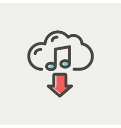 Music downloading thin line icon vector