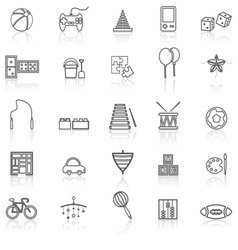 Toy line icons with reflect on white vector