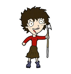 Comic cartoon crazy woman with spear vector