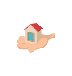 House in the hand cartoon vector