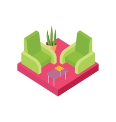 Isometric chair design isolated white vector
