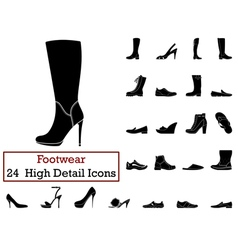 Set of 24 footwear icons vector