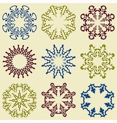 9 floral design elements vector