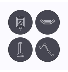 Medical mask blood and drilling tool icons vector