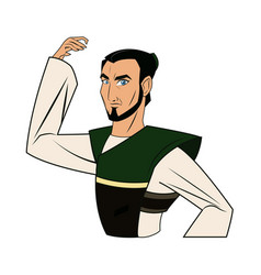 Animation asian man to ancient clothes vector