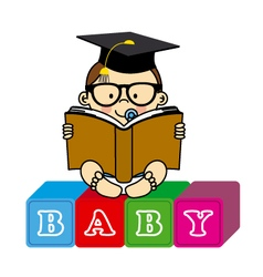 baby boy with book vector image vector image