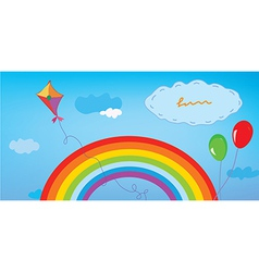 Background with rainbow sky kite and balloons vector image