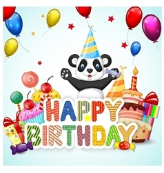 Birthday background with lion and panda vector image vector image
