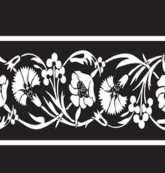 Black and white vintage wildflowers border floral vector image