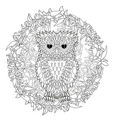 Black white tracery doodle of the owl vector