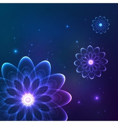 Blue shining cosmic flowers vector image