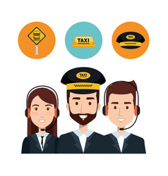 Call center operator taxi service app cartoon vector