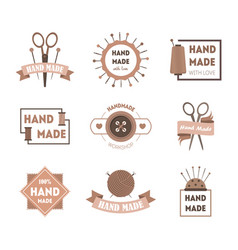cartoon hand made product badges or labels set vector image vector image