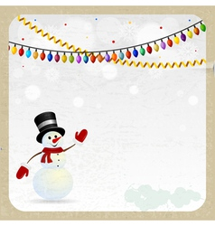 Christmas snowman on a retro background vector image vector image