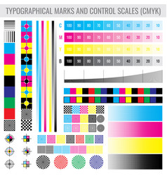 Cmyk press print marks and colour tone gradient vector