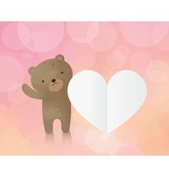 Cute teddy bear with paper heart vector