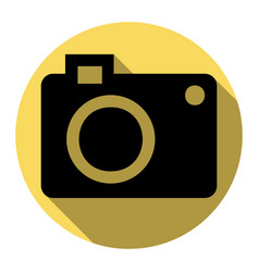Digital camera sign flat black icon with vector