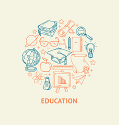 education line icons set in circle shape vector image