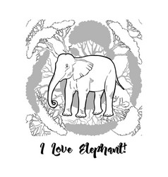 Elephant and savanna trees print vector