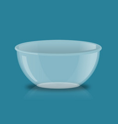 Empty glass bowl deep transparent plate kitchen vector