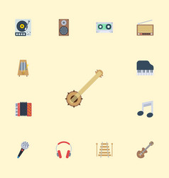 Flat icons earphone tape karaoke and other vector