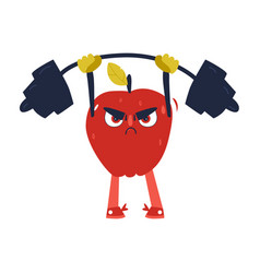 Funny apple working out in gym lifting barbell vector