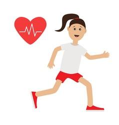 Funny cartoon running girl heart beat icon cute vector