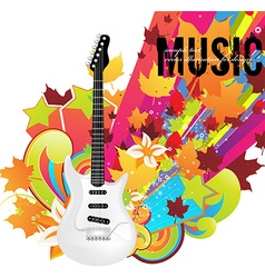 Guitar icon with autumn background vector