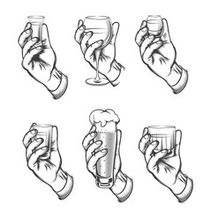 hand holding drink vintage sketch icons vector image