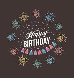 happy birthday kawaii background vector image