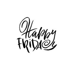 Happy friday dry brush lettering modern vector