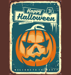 happy halloween retro sign vector image vector image