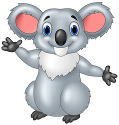 Happy koala waving hand with smiley face vector