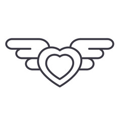 heart with wings line icon sign vector image