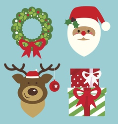 Holiday set with Seanta and deer vector image vector image