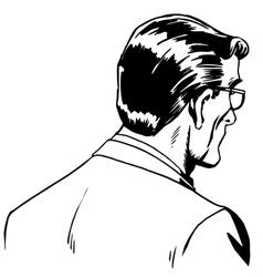Man businessman back online art vector image vector image