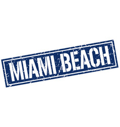 Miami beach blue square stamp vector