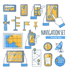 Navigation flat color icons set vector
