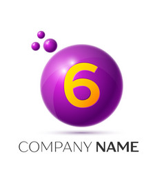 Number six splash logo purple dots and bubbles vector