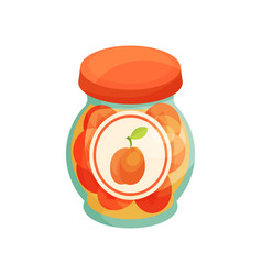 Peach jam in glass jar with lid homemade fruit vector