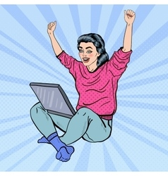 Pop Art Excited Woman with Laptop and Hands Up vector image vector image