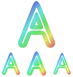 Rainbow letter a logo design set vector