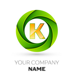 Realistic letter k logo in the colorful circle vector