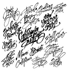 Set of surfing modern calligraphy hand lettering vector