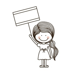 Silhouette girl holding poster with ponytail vector