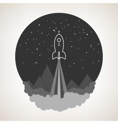 Space rocket flies into space vector image vector image