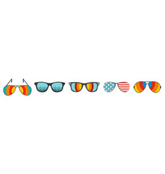 sun glasses icon set flat style vector image