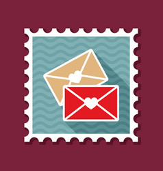 two envelope stamp love letter vector image vector image