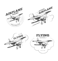 Vintage airplane or aircraft logos emblems vector