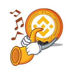 With trumpet binance coin mascot catoon vector